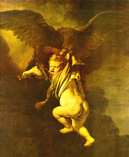 Ganymede carried by Zeus as an eagle.