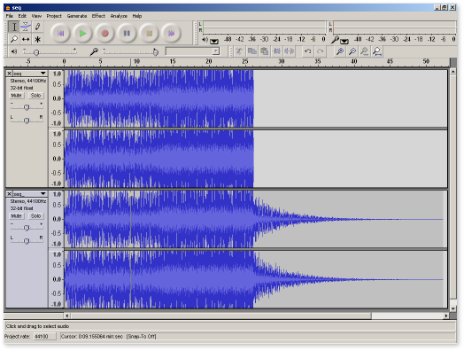 the 2 WAVs imported into Audacity