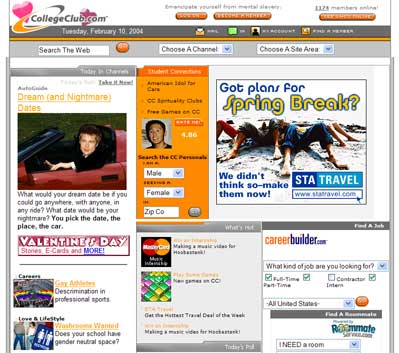 Screenshot of College Club home page