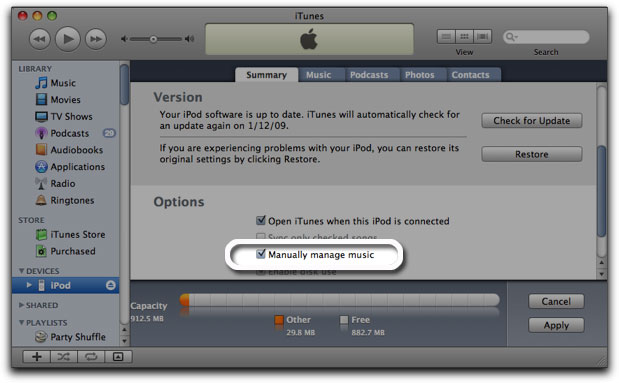 Enable Disk Use Ipod New Itunes